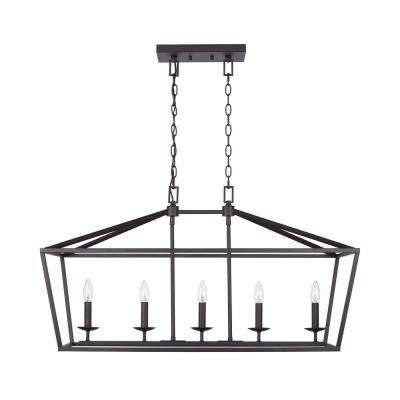 Weyburn 5-Light Bronze Caged Island Chandelier