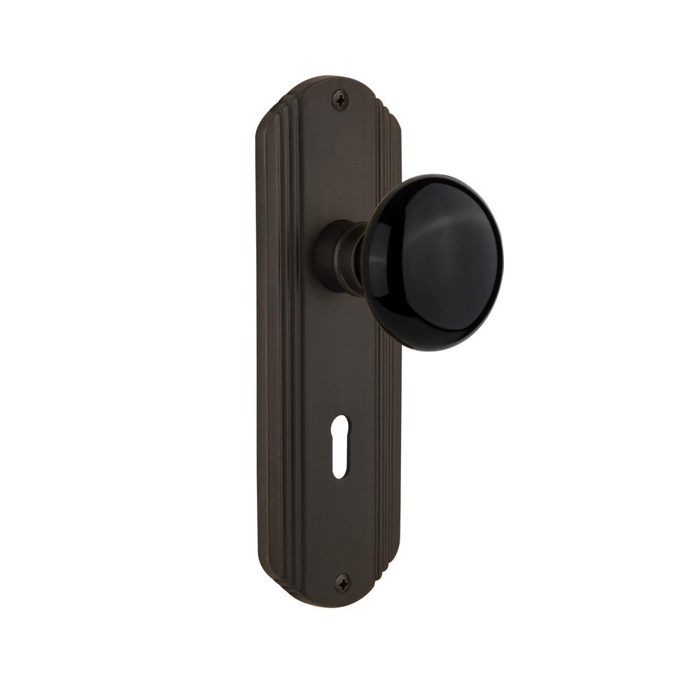Nostalgic Warehouse Deco Plate Interior Mortise Black Porcelain Door In Oil Rubbed Bronze