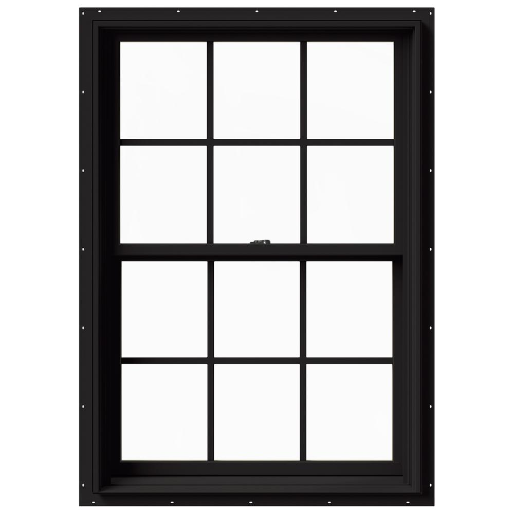 JELD-WEN 33.375 in. x 48 in. W-2500 Series Black Painted Clad Wood Double Hung Window w/ Natural Interior and Screen