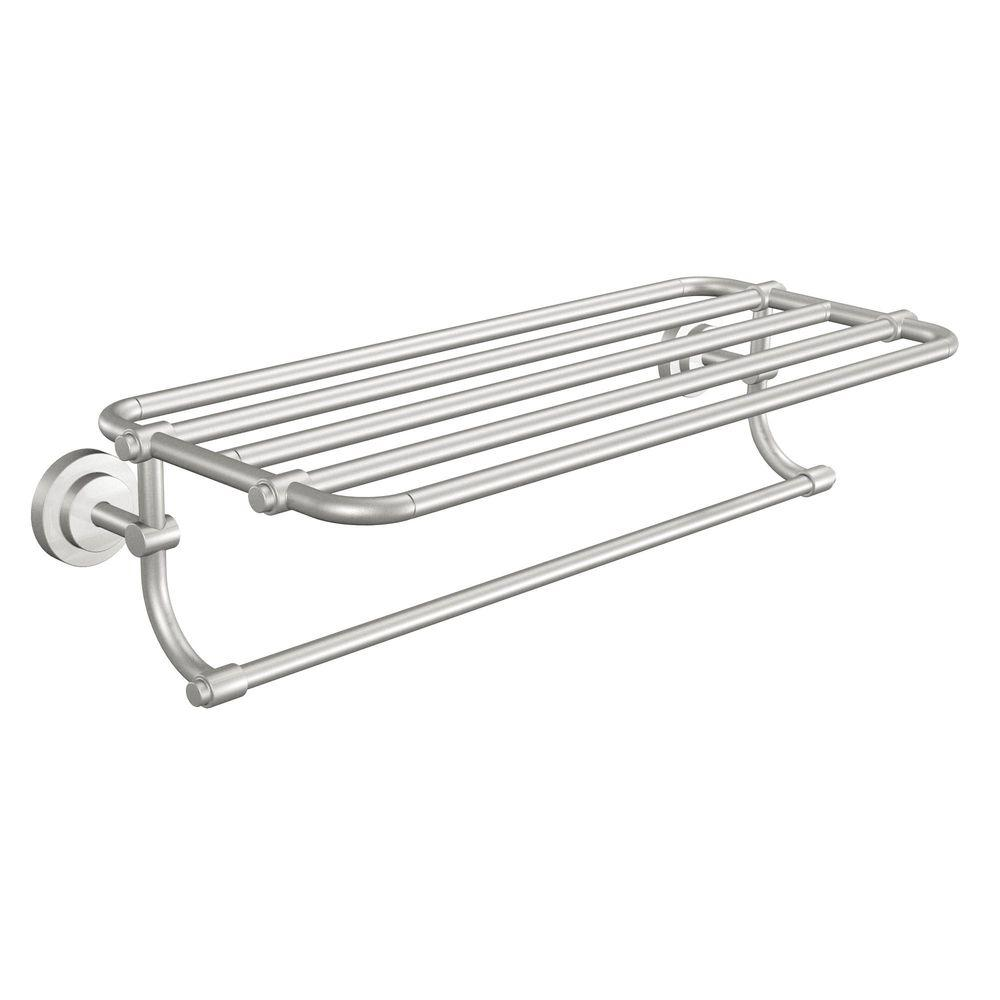 MOEN Iso 10-7/10 in. L x 6-9/25 in. H x 26-19/20 in. W Zinc Hotel-Style Bathroom Shelf in Brushed Nickel