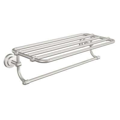 Iso 10-7/10 in. L x 6-9/25 in. H x 26-19/20 in. W Zinc Hotel-Style Bathroom Shelf in Brushed Nickel