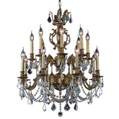 16-Light French Gold Chandelier with Clear Crystal