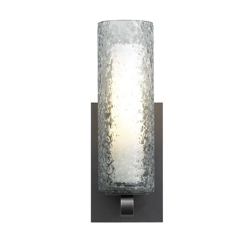 Mini-Rock Candy Cylinder 1-Light Bronze Halogen Wall Light with Smoke Shade