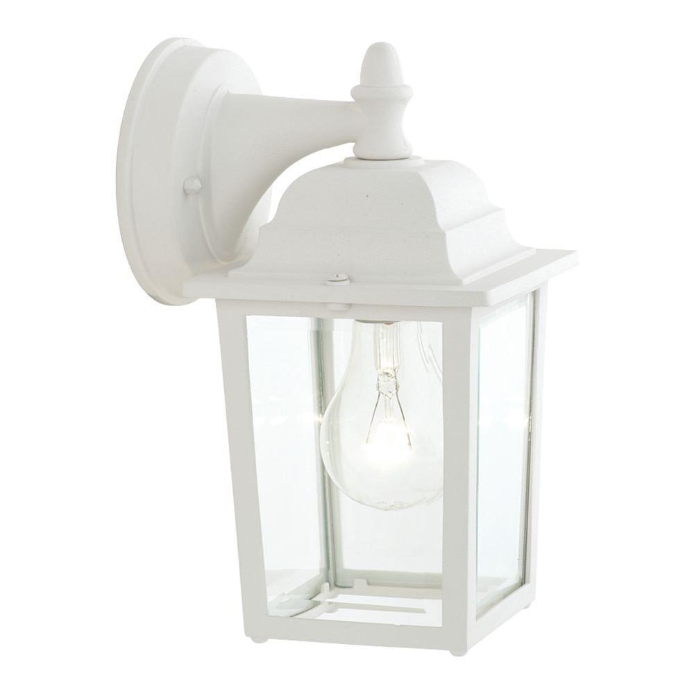 Outdoor Essentials 1-Light Matte White Outdoor Wall Lantern