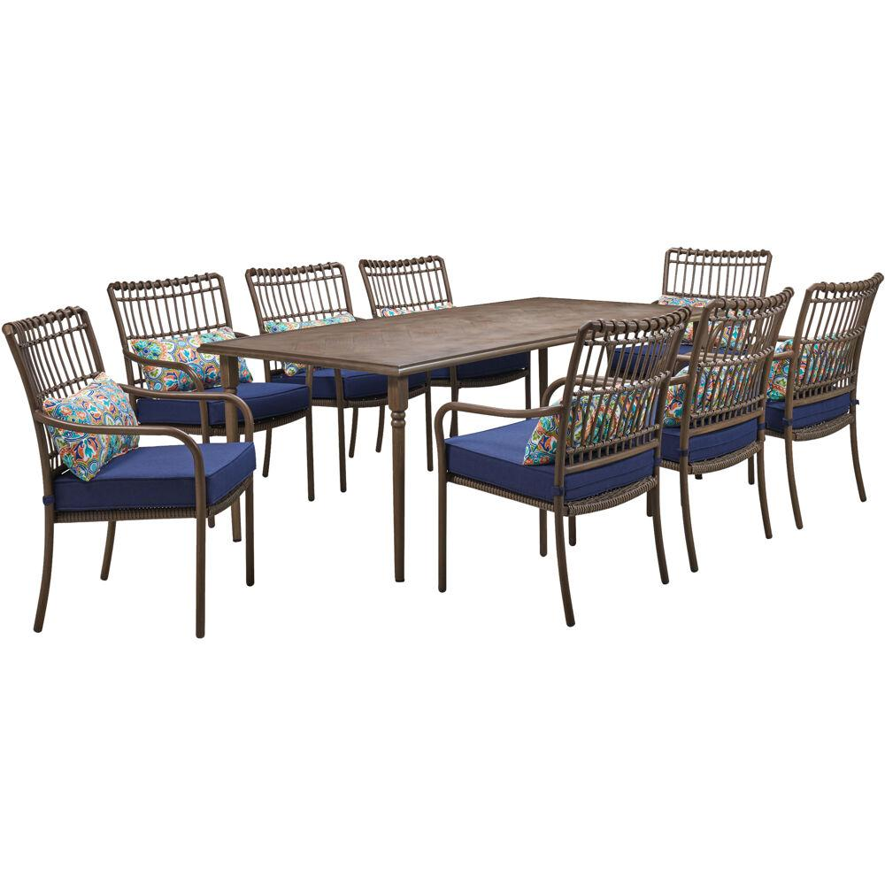 Hanover Summerland Faux Wood 9 Piece Aluminum Outdoor Dining Set Navy Cushions 8