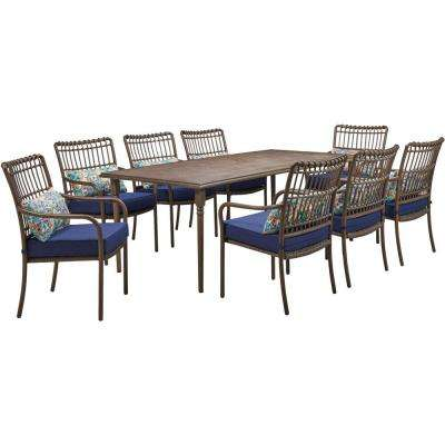 Summerland Faux-Wood 9-Piece Aluminum Outdoor Dining Set, Navy Cushions 8 Stationary Chairs and a 82 in. x 40 in. Table