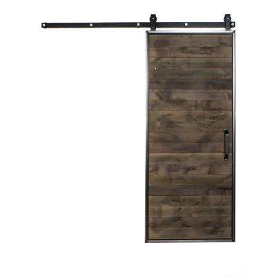 42 in. x 96 in. Mountain Modern Home Depot Grey Wood Barn Door with Mountain Modern Sliding Hardware Kit and Falcon Pull
