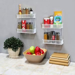 Seville Classics 2-Tier White Countertop and Wall Mount Multipurpose Spice Rack Organizer by Seville Classics