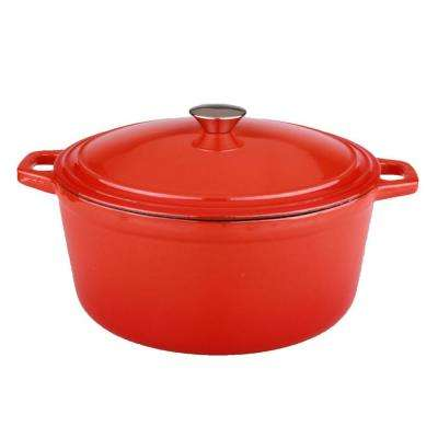 Neo 5 Qt. Oval Cast Iron Orange Casserole Dish with Lid