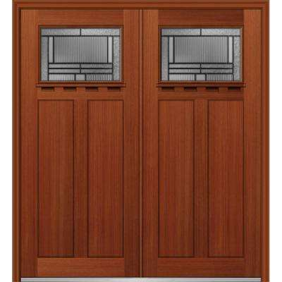 72 in. x 80 in. Brighton Left-Hand Inswing 1/4-Lite Decorative Stained Fiberglass Fir Prehung Front Door with Shelf