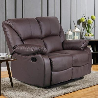 38.2 in. Brown PU Leather Sectional Sofa Recliner Chair Couch Set