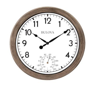 Indoor Outdoor 10.25 in. Wall Clock with Rattan Finish and Thermometer