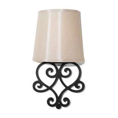 Black Helix Heart Wall Scroll Indoor Battery Operated Integrated LED Wall Sconce with Amber Flicker Mode and Tan Shade