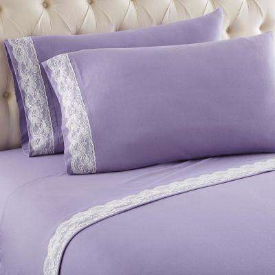 Full Amethyst Lace Edged Sheet Set
