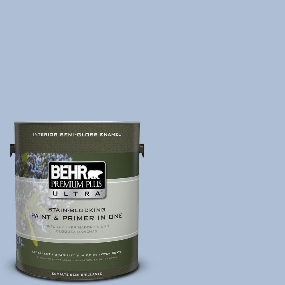 1-gal. #580E-3 Sweet Blue Semi-Gloss Enamel Interior Paint