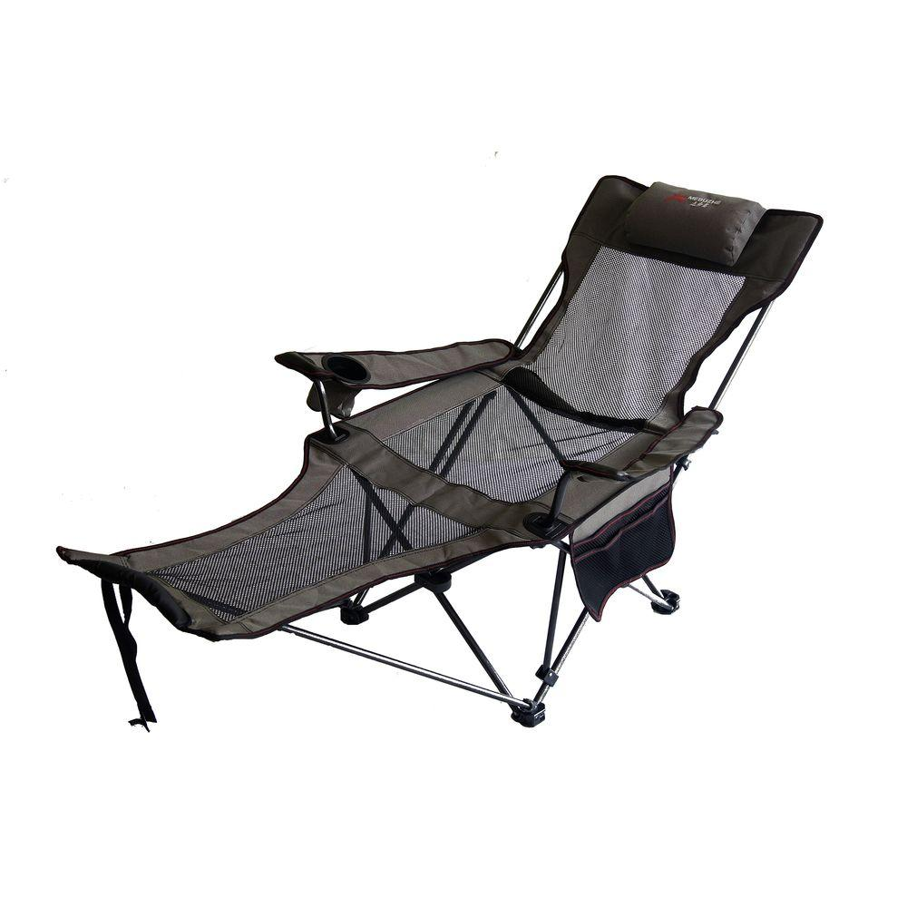 Ordinaire H Portable Slate Grey Mesh Lounger Reclining Chair