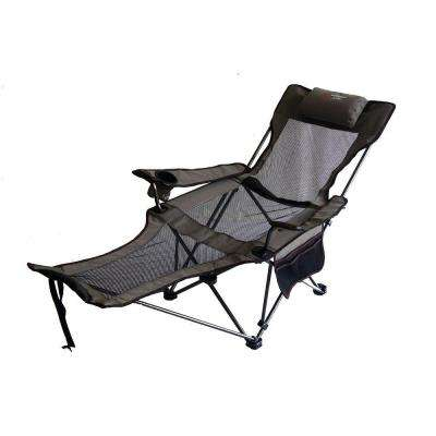 35 in. H Portable Slate Grey Mesh Lounger Reclining Chair