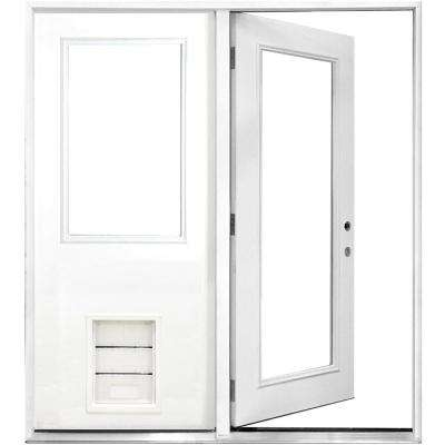 72 in. x 80 in. Clear Lite Primed White Fiberglass Prehung Left-Hand Inswing Center Hinge Patio Door with XL Pet Door