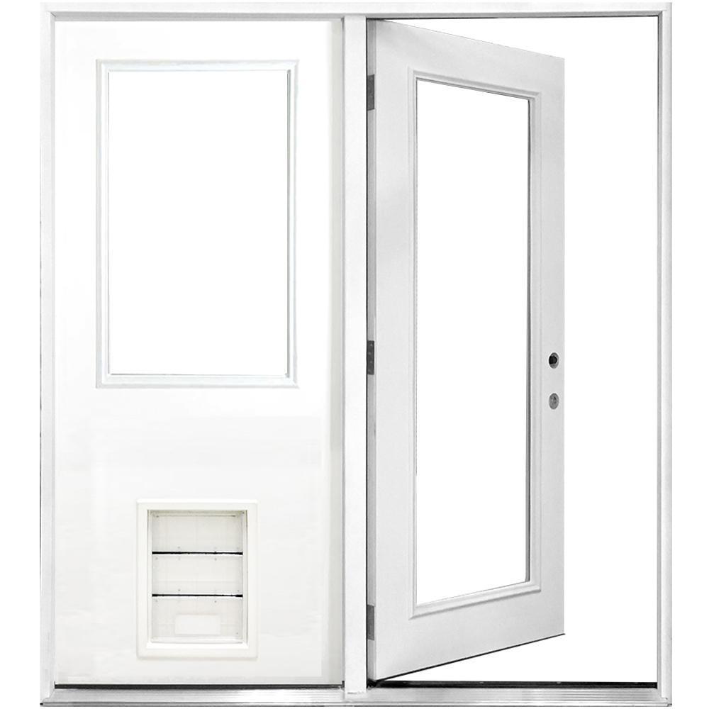 72 in. x 80 in. Clear Lite Primed White Fiberglass Prehung Left-Hand Inswing Center Hinge Patio Door with XL Pet Door