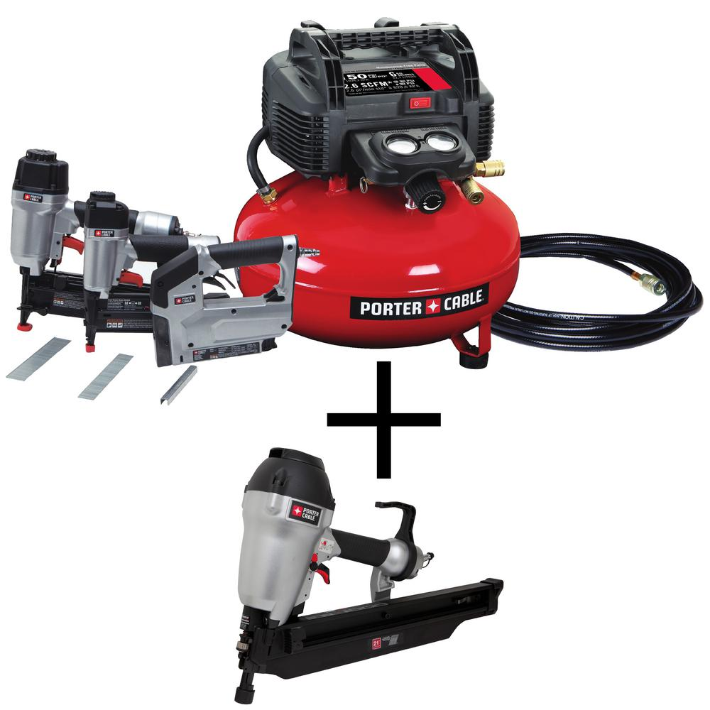 Porter-Cable 6 Gal. 150 PSI Portable Electric Air Compressor 16 & 18-GA Nailer & 3/8 in. Stapler Combo Kit (3-Tool) w/ Framing Nailer