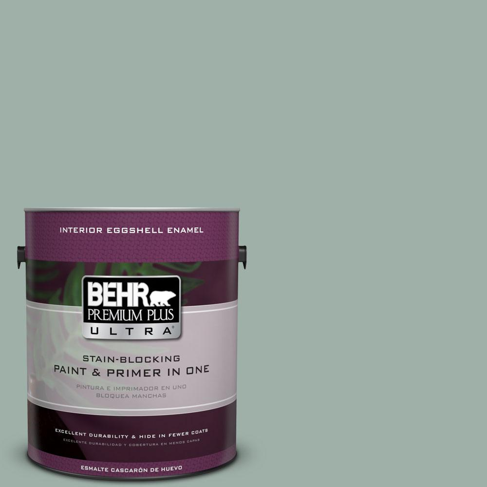 BEHR Premium Plus Ultra Home Decorators Collection 1 gal. #HDC-CT-22 Aged Jade Eggshell Enamel Interior Paint and Primer in One