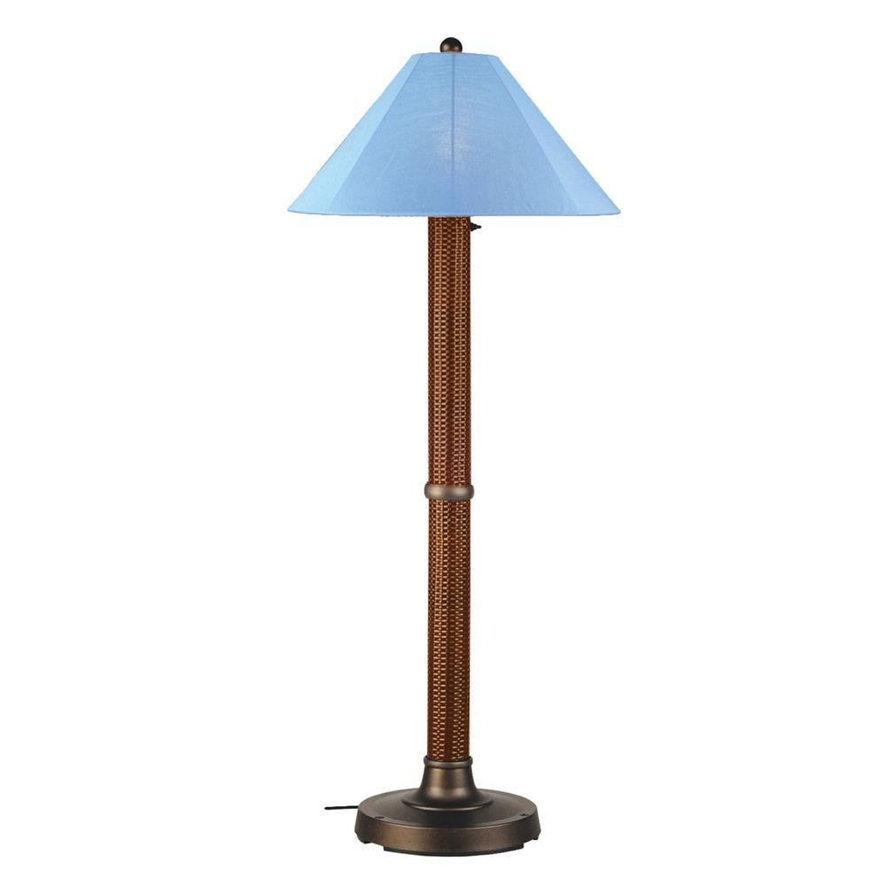 Patio Living Concepts Bahama Weave 60 in. Red Castango Floor Lamp with Sky Blue Shade