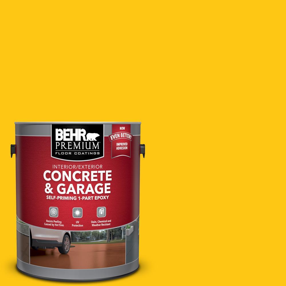BEHR Premium 1 gal. #P300-7 Unmellow Yellow Self-Priming 1-Part Epoxy Satin Interior/Exterior Concrete and Garage Floor Paint