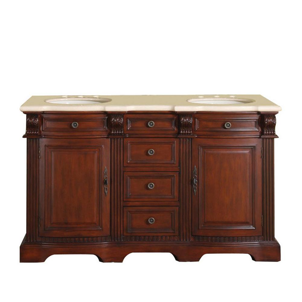 Silkroad Exclusive 58 in. W x 22 in. D Vanity in Brazilian Rosewood with Marble Vanity Top in Crema Marfil with White Basin