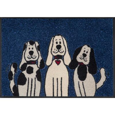 Whimsy Three Dogs 20 in. x 30 in. Nylon Doormat
