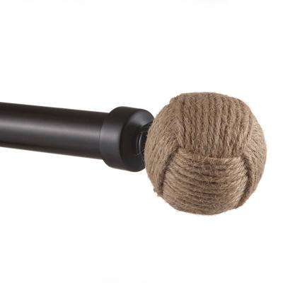 36 in. L - 72 in. L Adjustable 1 in. Curtain Rod Kit in Matte Bronze with Rope Knot Finial