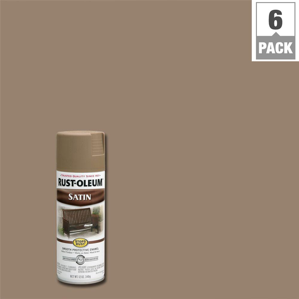 12 oz. Protective Enamel Satin Dark Taupe Spray Paint (6-Pack)