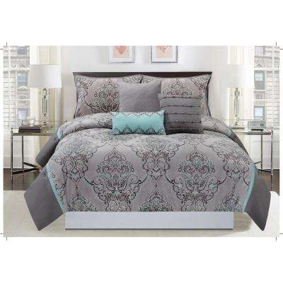 Silver Sparkle 6-Piece Gray and Blue Queen Comforter Set