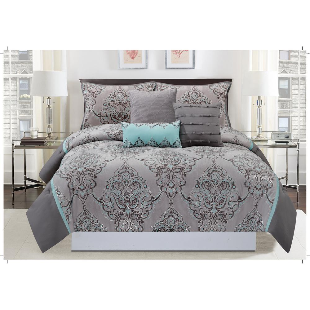 Mytex Home Fashions Silver Sparkle 6-Piece Gray And Blue
