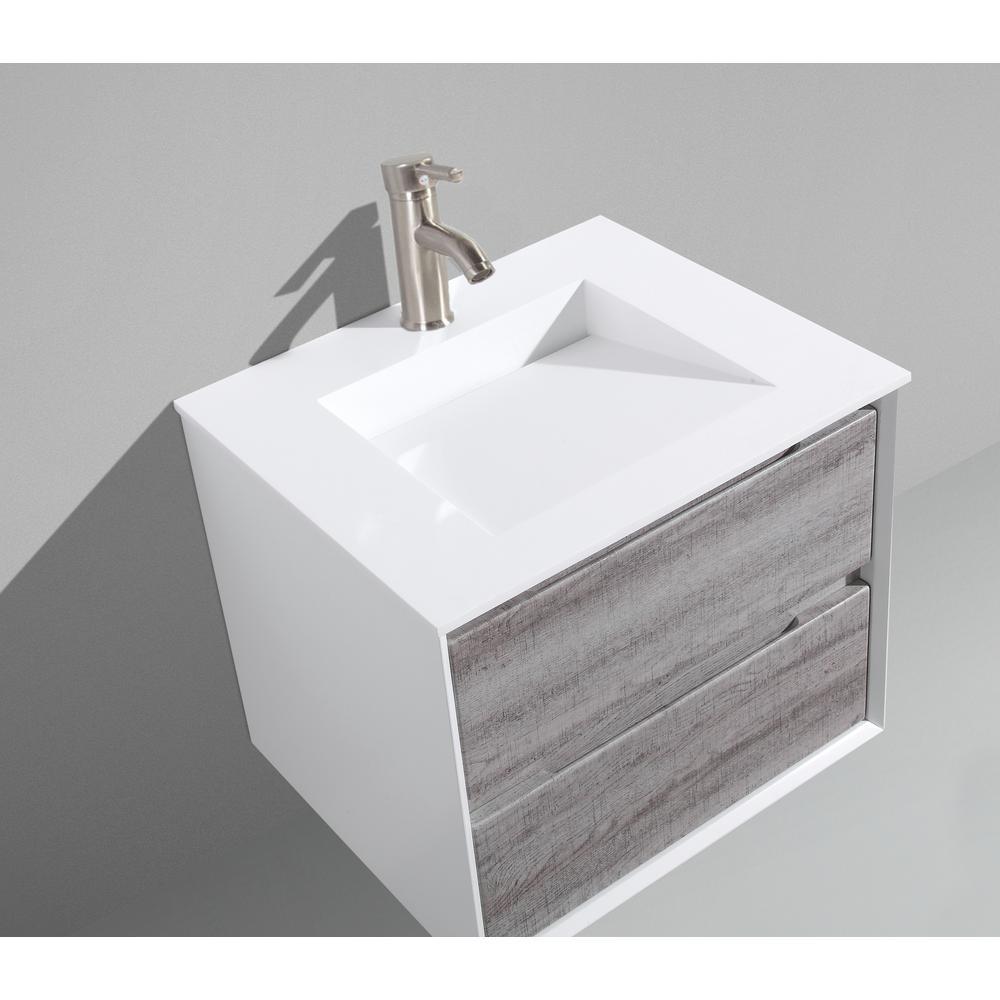 MTD Vanities Tahiti 24 in. W x 20 in. D x 20 in. H Floating Vanity in Grey Oak with Acrylic Top in White with White Infinity Basin
