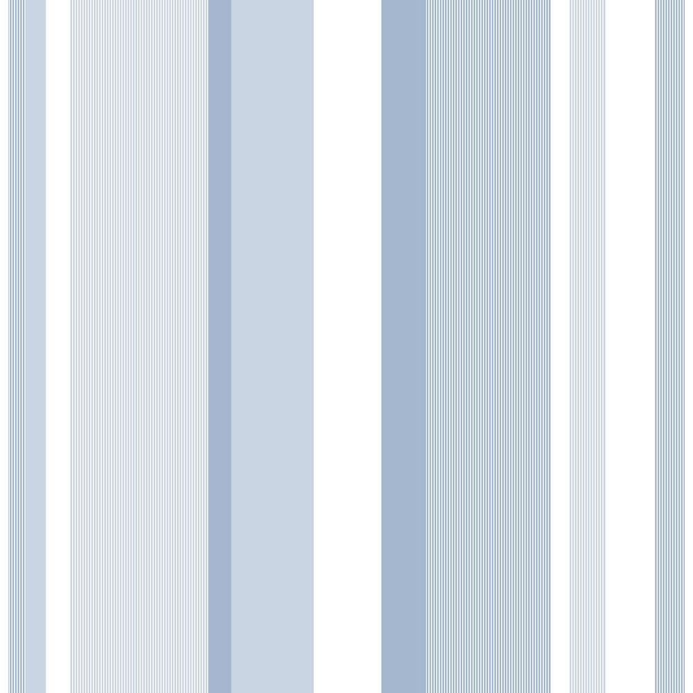 Nuwallpaper blue awning stripe peel and stick wallpaper for Paintable peel n stick wallpaper