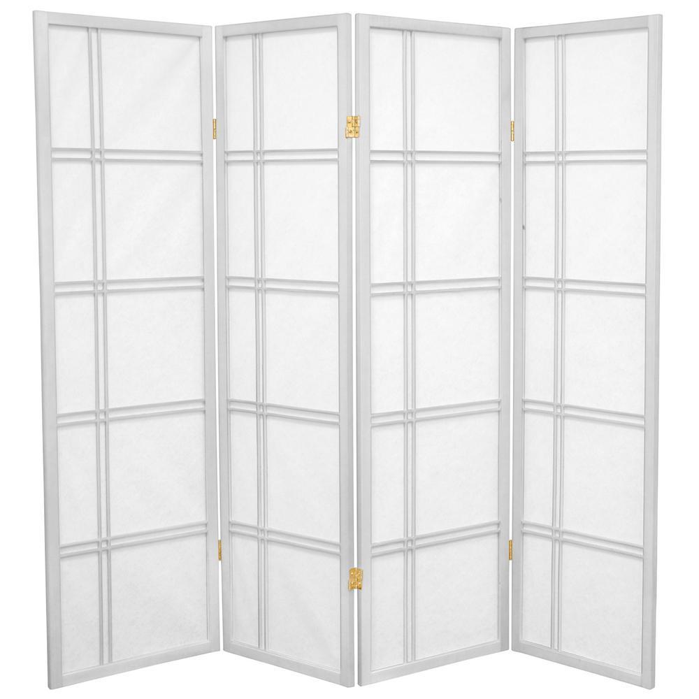 5 ft. White 4-Panel Room Divider