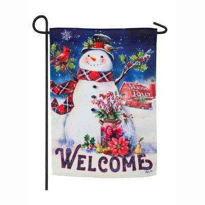 18 in. x 12.5 in. Christmas Barn Snowman Garden Suede Flag