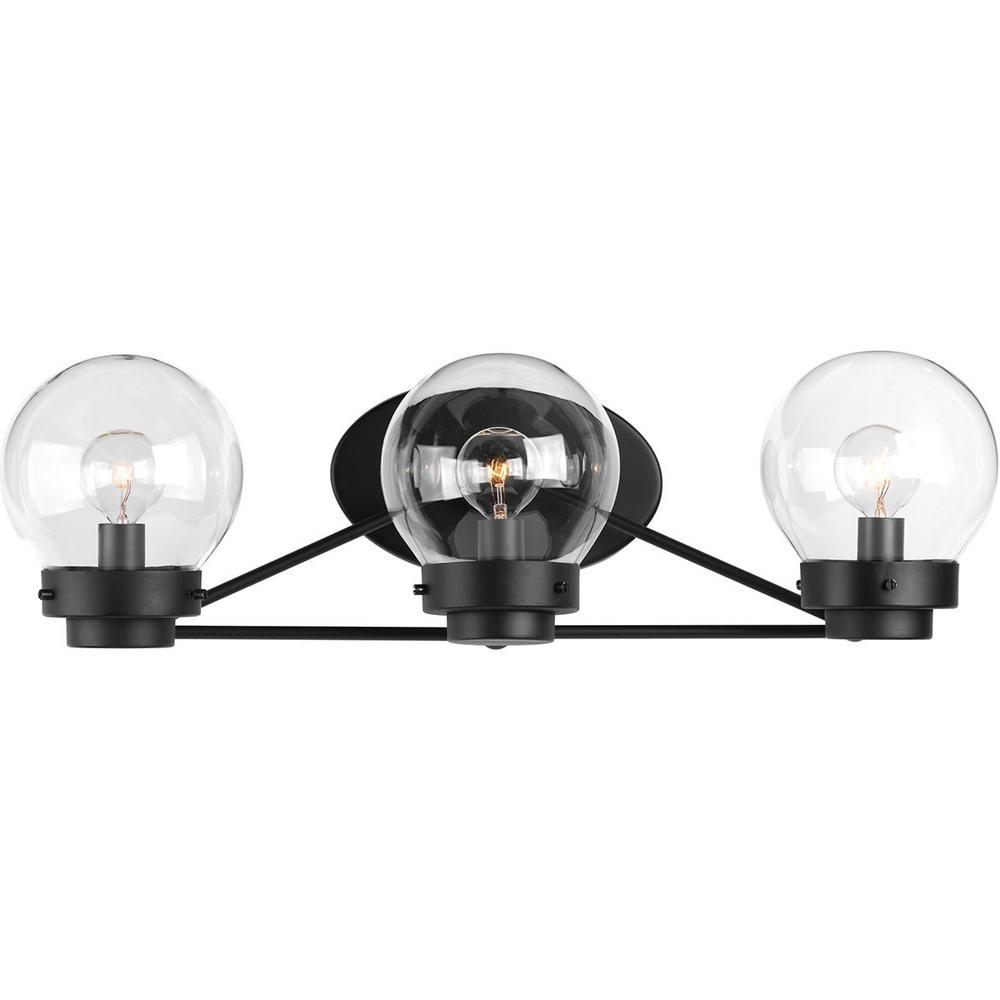 Progress Lighting Spatial Collection 3-Light Black Bath Light