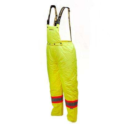 Large Lime Green Suspender Pants Poly/PVC Material with Reflective Band