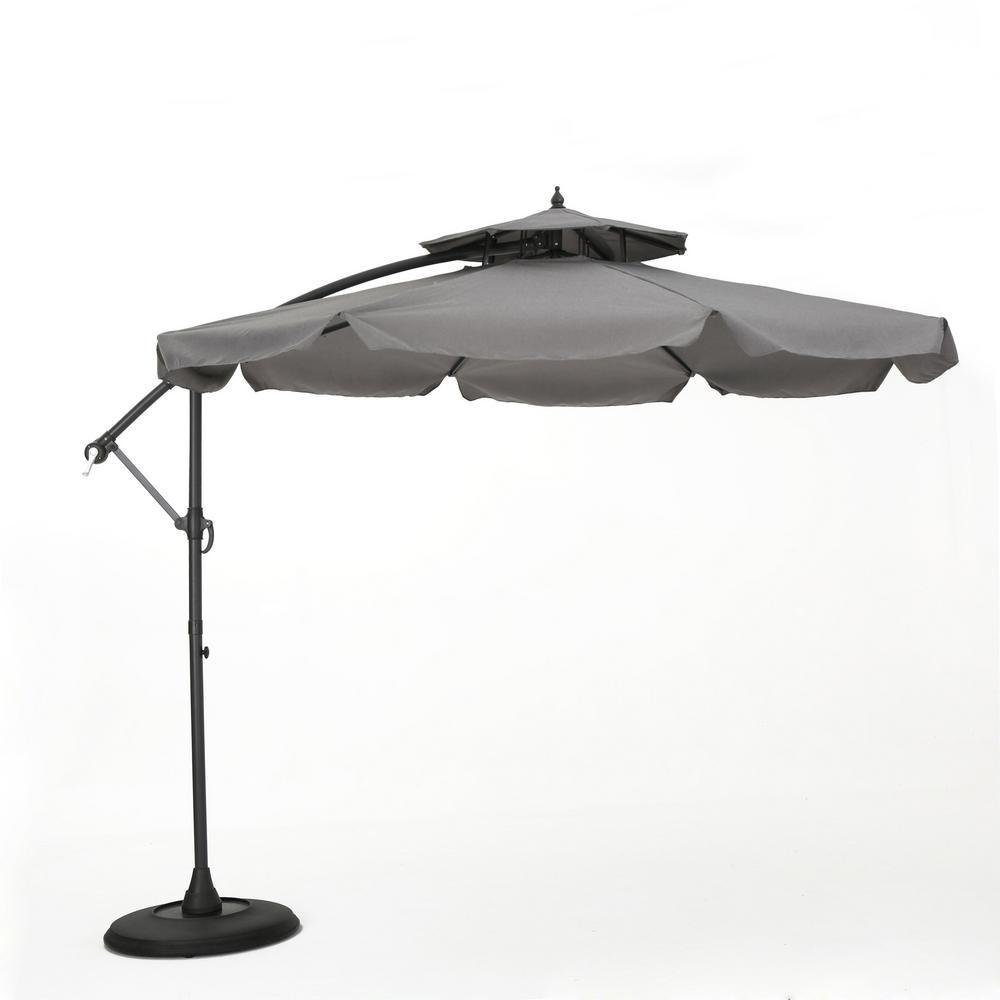 9.83 ft. Iron Cantilever Tilt Patio Umbrella in Dark Gray