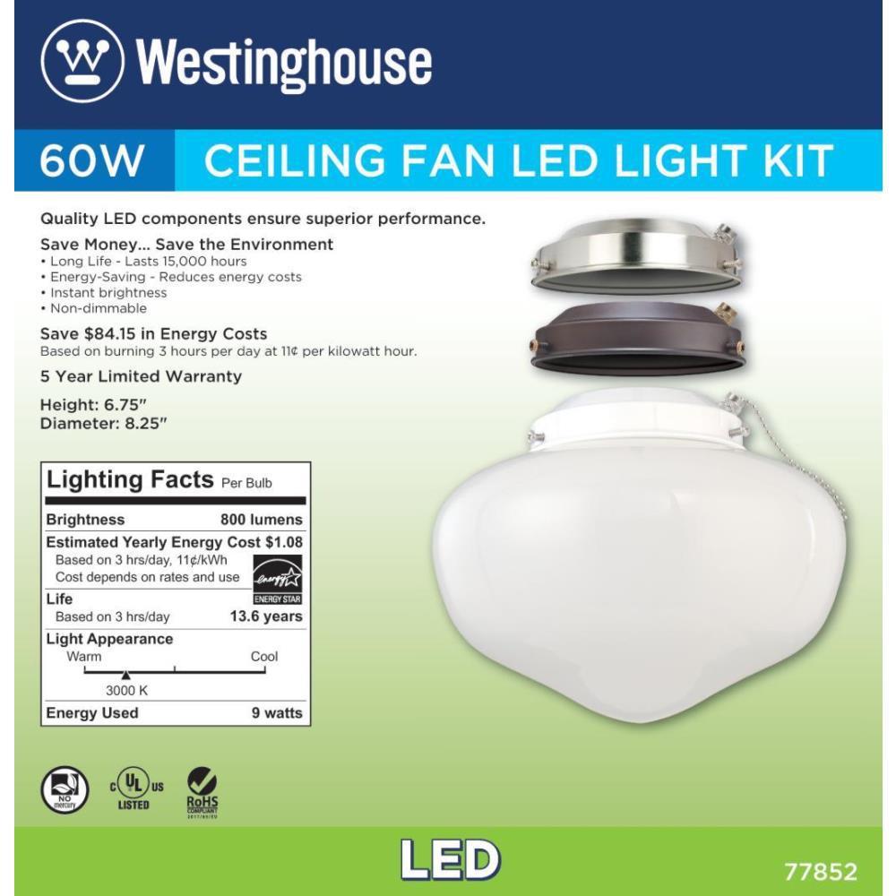 Westinghouse 1 Light Led Schoolhouse Ceiling Fan Light Kit 7785200 The Home Depot