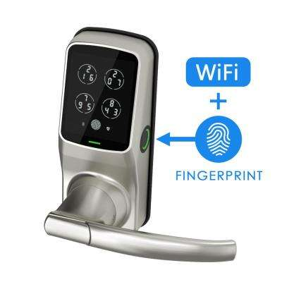 Secure PRO Satin Nickel Smart Lock Latch with 3D Fingerprint and WiFi (works with Alexa and Google Home)