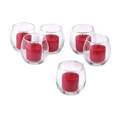 Clear Glass Hurricane Votive Candle Holders with Red Votive Candles (Set of 36)