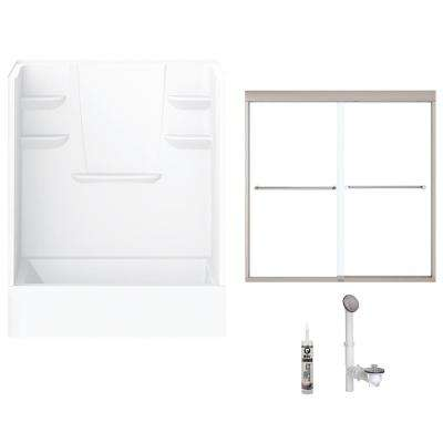60 in. x 30 in. x 76 in. Bath and Shower Kit with Right-Hand Drain and Door in White and Brushed Nickel Hardware