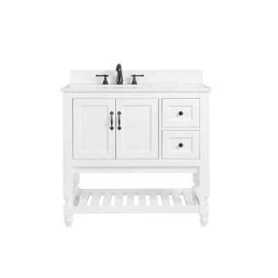 Bankside 37 in. W x 22 in. D Bath Vanity in White with Engineered Marble Vanity Top in Carrara White with White Basin
