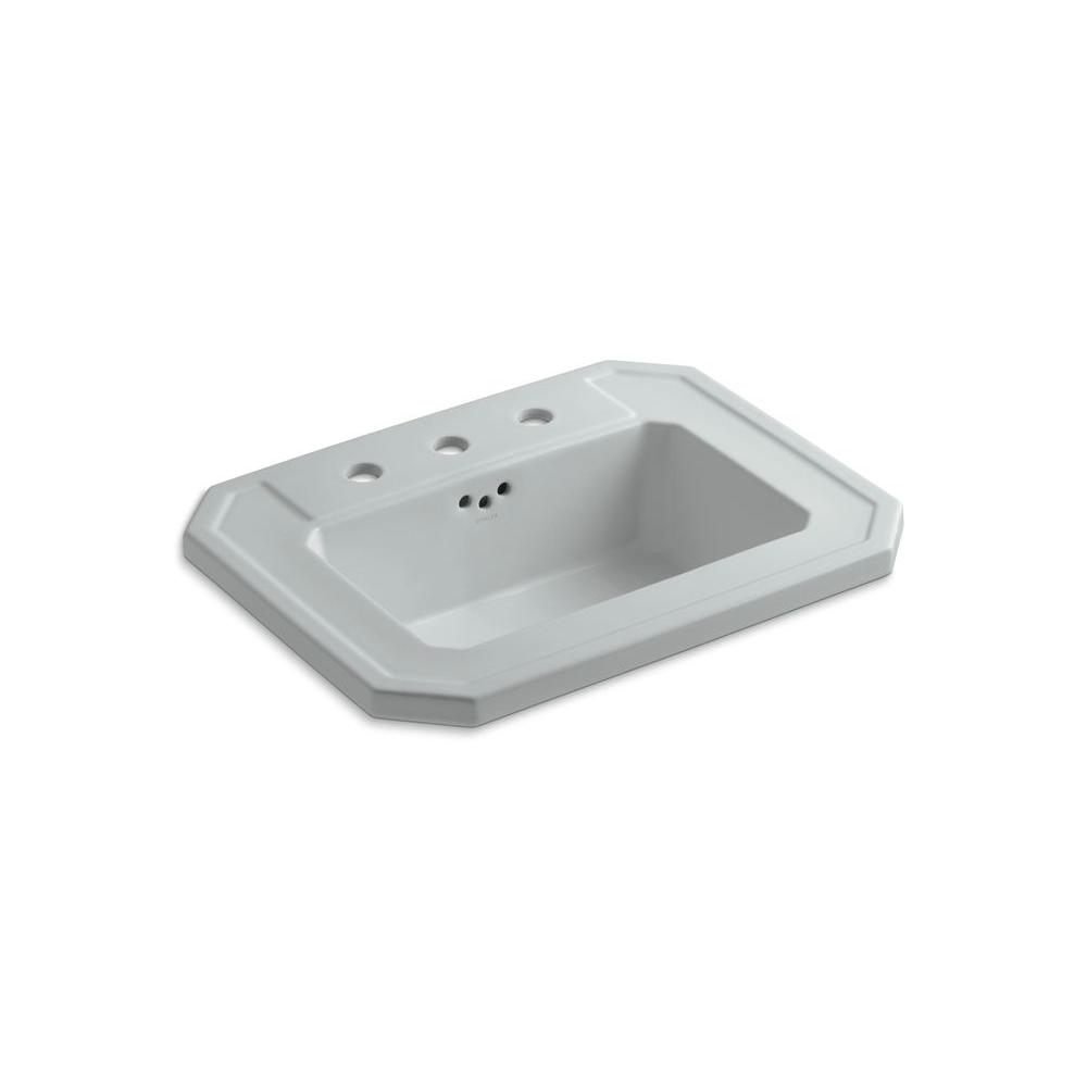 Kathryn Drop-In Ceramic Bathroom Sink in Ice Grey with Overflow Drain