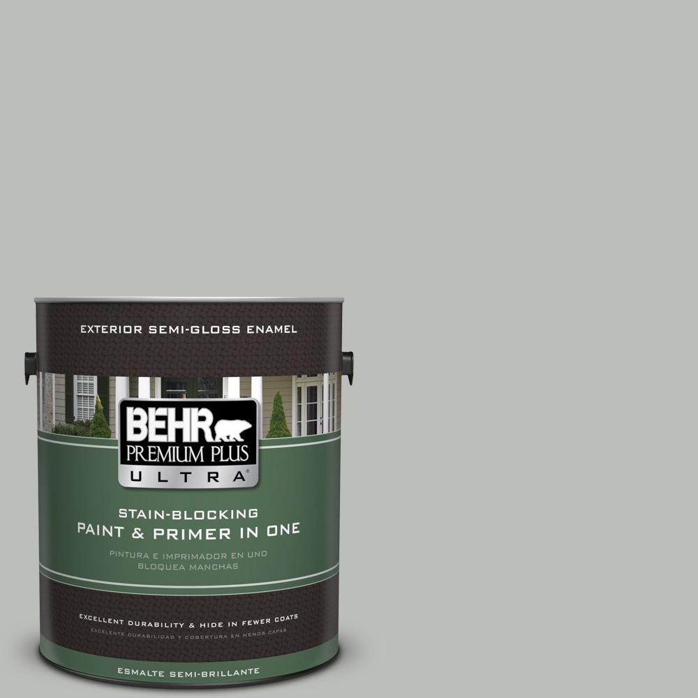 1 gal. #PPU24-17 Hailstorm Gray Semi-Gloss Enamel Exterior Paint