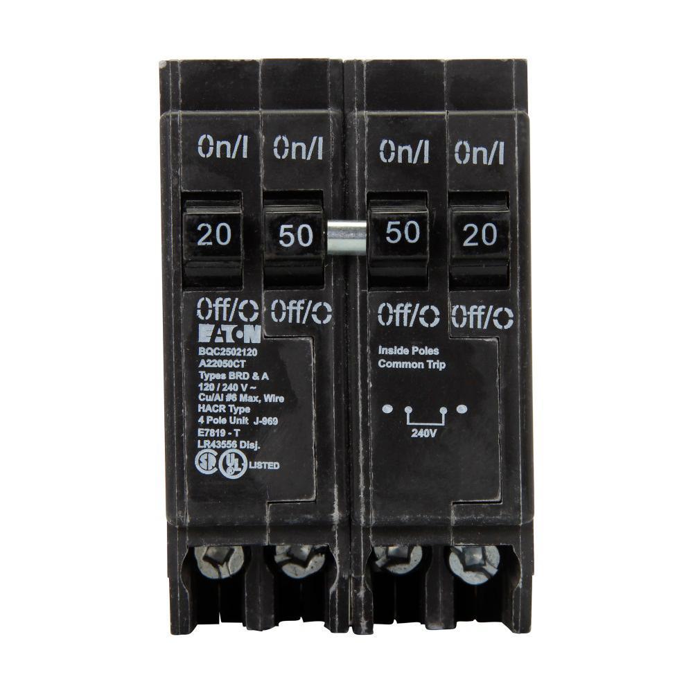 BR 1- 50 Amp 2-Pole and 2-20 Amp 1 Pole BQC (Common Trip) Quad Circuit Breaker