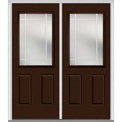 64 in. x 80 in. Prairie Internal Muntins Right-Hand Inswing 1/2-Lite Clear Painted Fiberglass Smooth Prehung Front Door