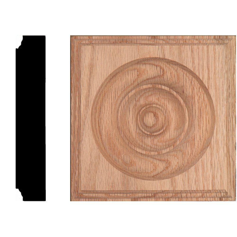 House of Fara 5-1/2 in. x 5-1/2 in. x 1-1/8 in. Oak Rosette Moulding